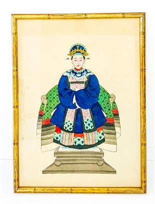 19th Century Chinese Portrait on Silk