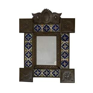 Mexican Hand Painted and tapped Tin and Tile Mirror