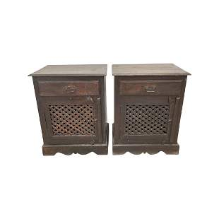 Pair 1 Drawer Night Stands with Lattice Fronts