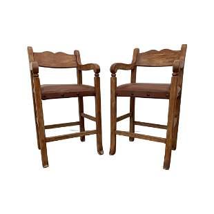 Pair Wooden Barstools