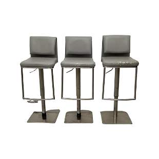 Set of 3 Silver Barstools with Grey Seats