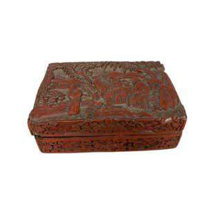 Carved Cinnabar Antique Chinese Box