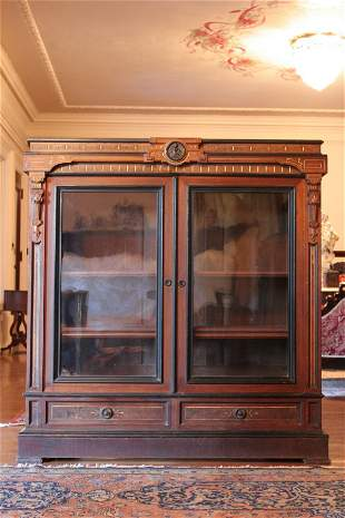 Walnut Bookcase with Bronze Plaques