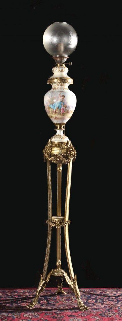 Rare Sevres Oil Lamp on Tripod Bronze Base