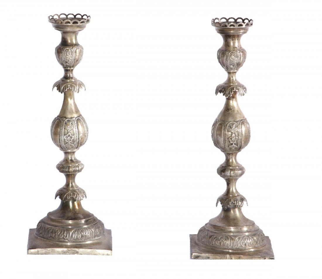 21: Pair 84 Russian Embossed/Engrav. Silver Candesticks