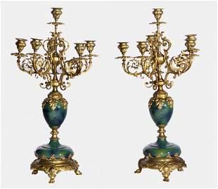 19th Century Pair of Bronze & Porcelain Candelabras