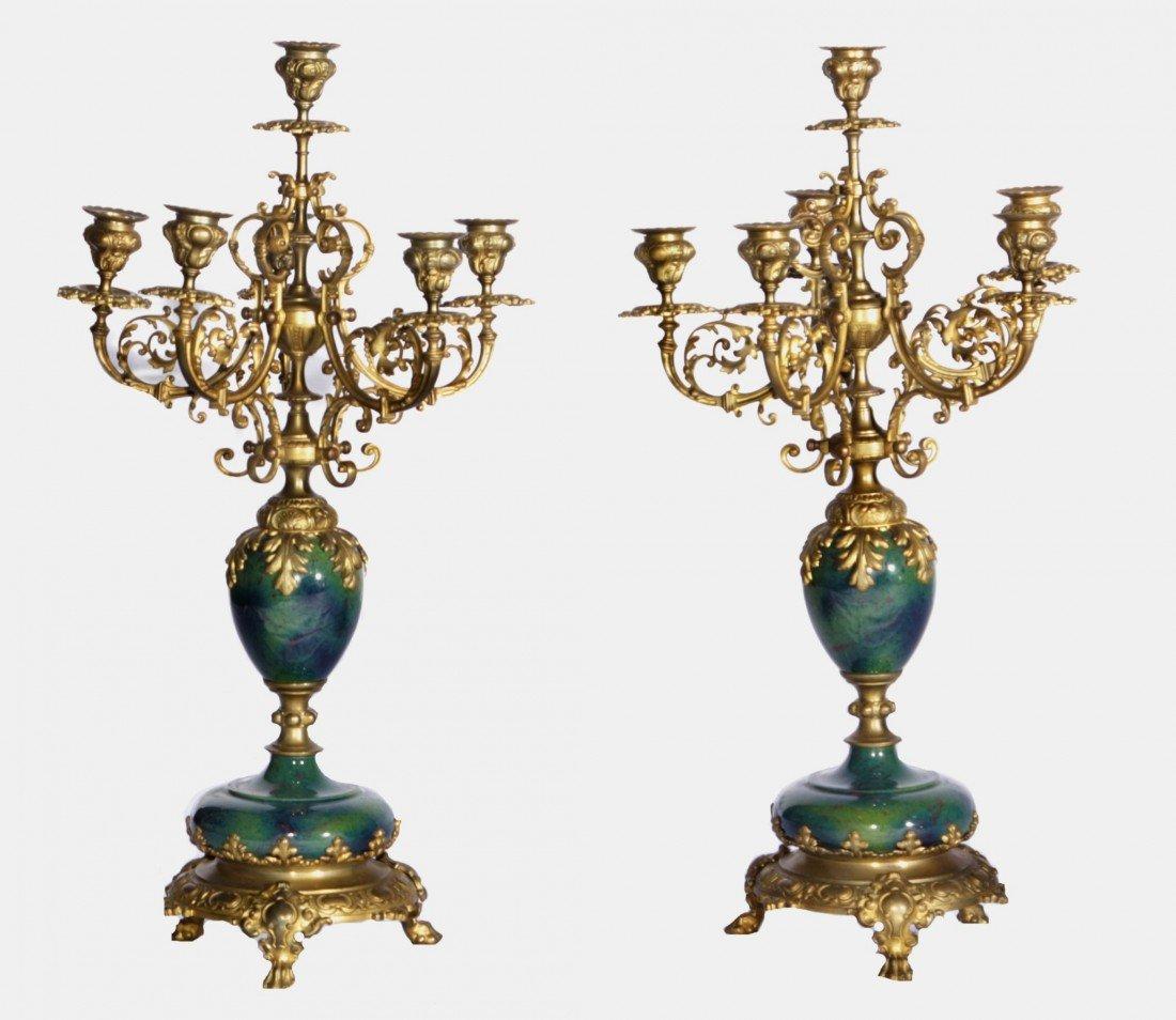 22: 19th Century Pair of Bronze & Porcelain Candelabras