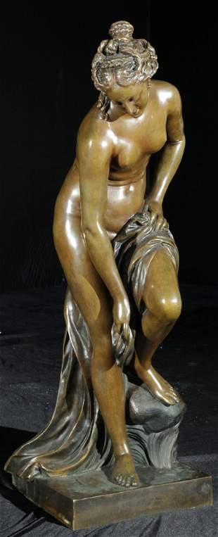 Bronze Sculpture of a Semi-Nude, signed