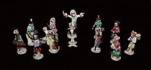 12-Piece 19th Century German Porcelain Monkey Band