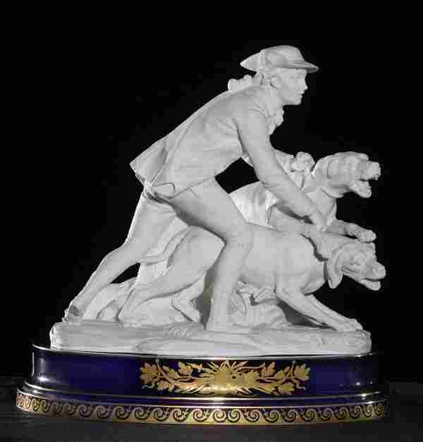 19th C Sèvres Two-Part Figure of a Hunter w/Dogs