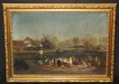 66 Gilt Framed French 19th C Oil on Canvas Farm Scene