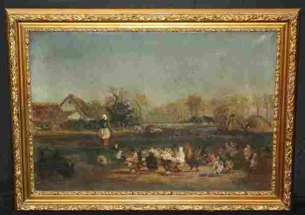 Gilt Framed French 19th C Oil on Canvas, Farm Scene