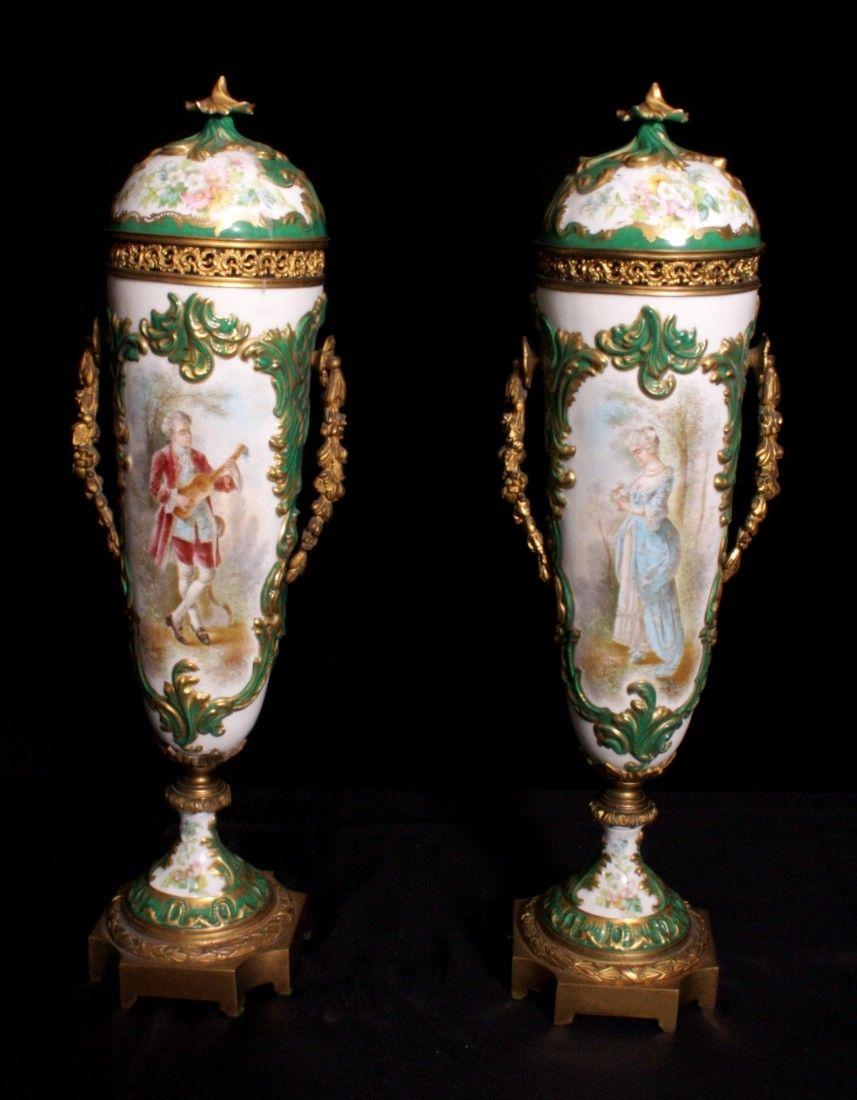 Pair of 19th Century Scenic Sevres Urns