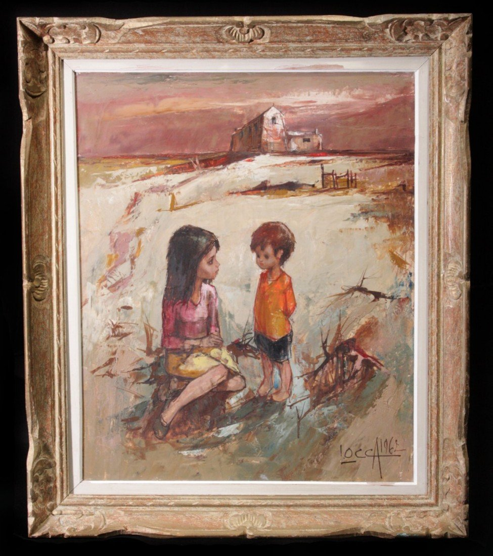 26: 20th C Modern Landscape w/Sister & Brother, signed