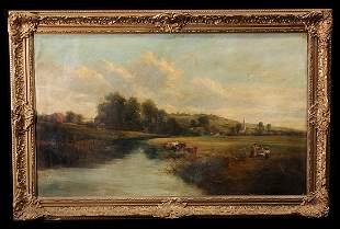 19th C Oil on Canvas, Children & Cows Landscape