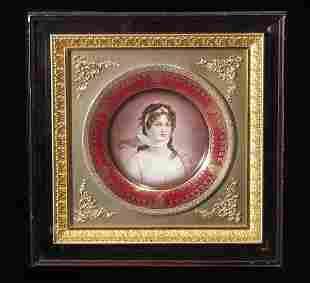 "Royal Vienna Plate 9.5"" Portrait Plate Giltwood"