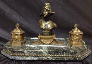 19th Century Marble & Bronze Figural Ink Well