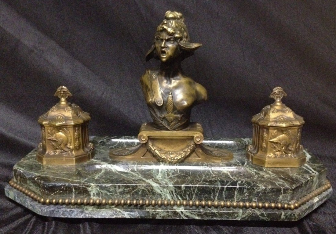 9: 19th Century Marble & Bronze Figural Ink Well