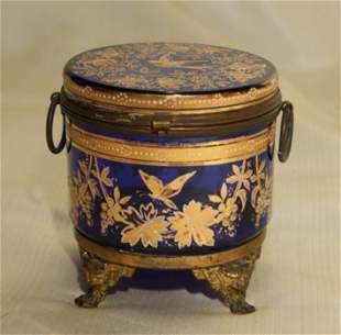 19th C Moser Style Cobalt & Bronze Mounted Box Gilt