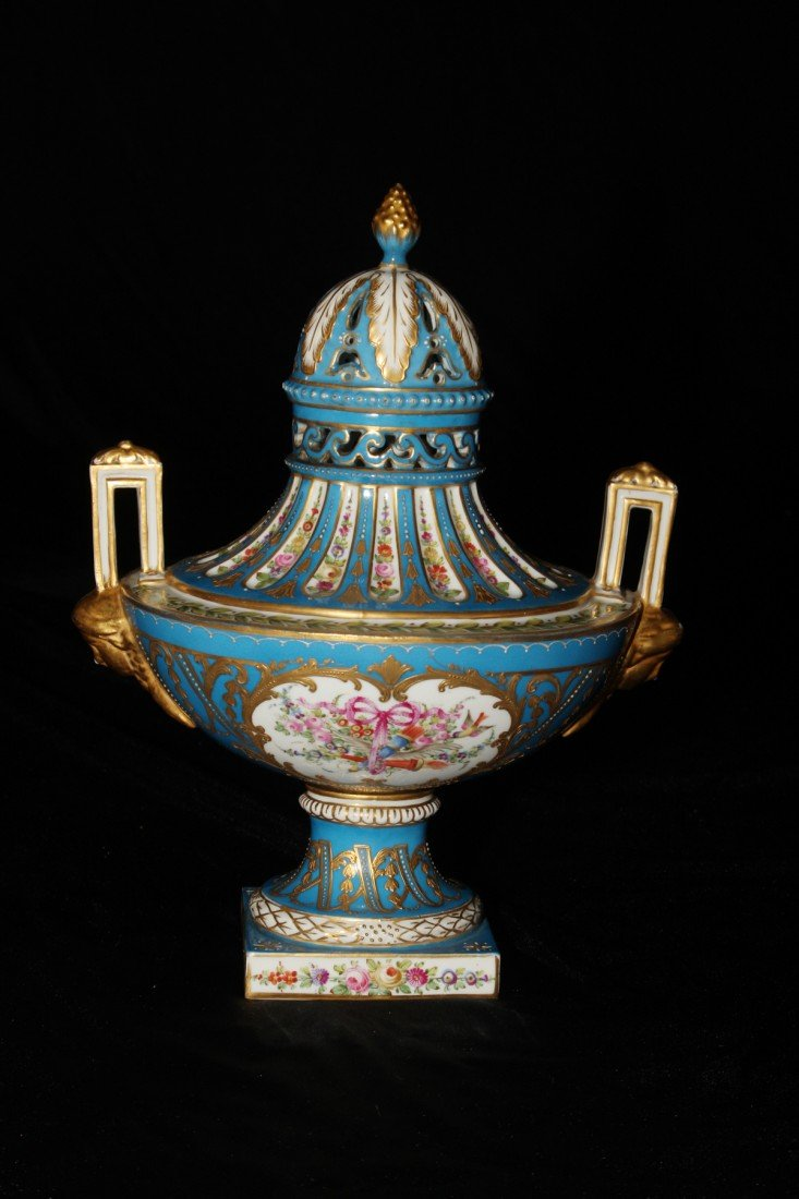 12: 19th Century Scenic Sevres Covered Urn