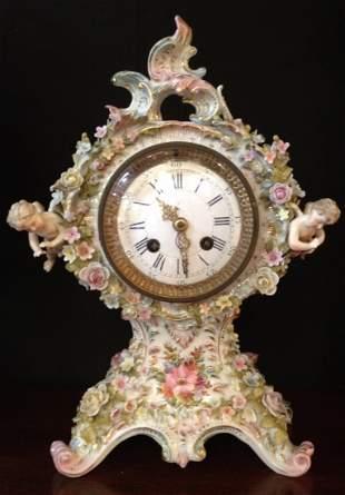 19th C Germany Porcelain Floral Encrusted Clock