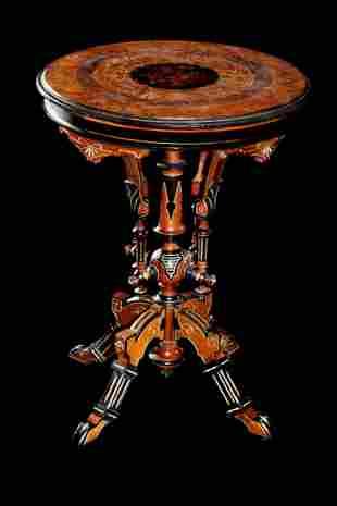 Victorian Carved Gilt/Ebonized Walnut Taboret Table