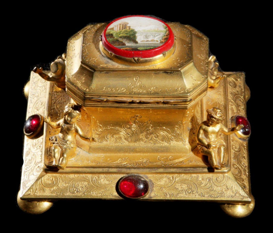201: Figural Gilt Bronze & Micro Mosaic Ink Stand