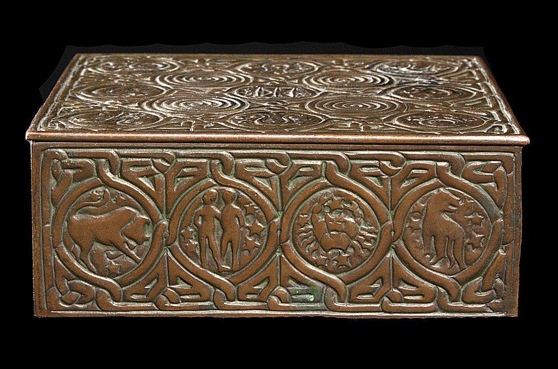 202: Signed Tiffany Studios NY #1655 Bronze Humidor Box