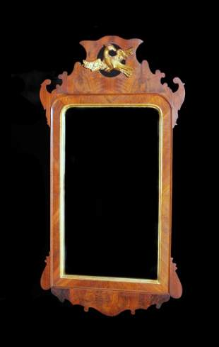18th C Chippendale Carved Mahogany/Gilt Mirror