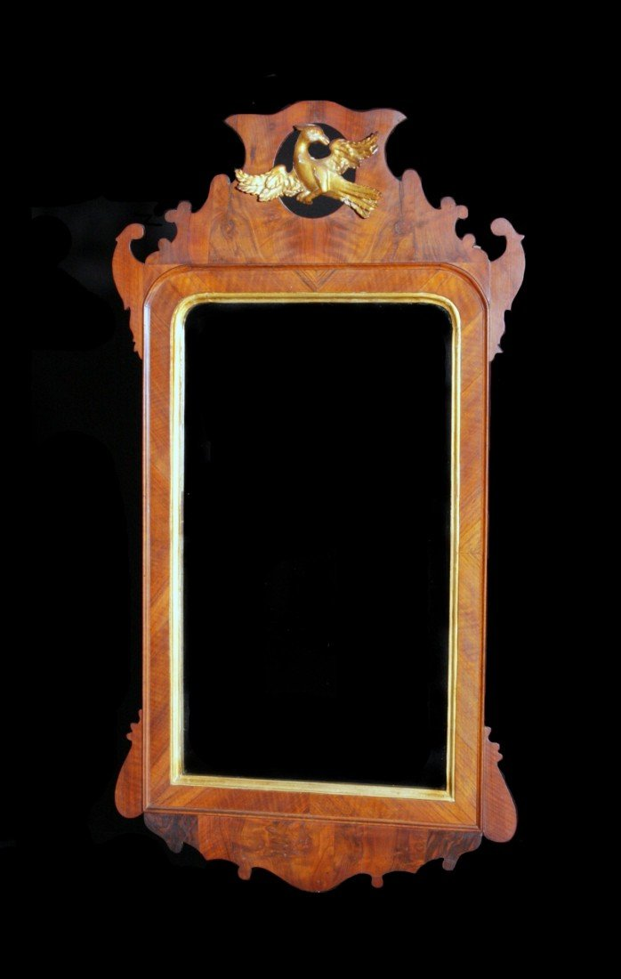 214: 18th C Chippendale Carved Mahogany/Gilt Mirror
