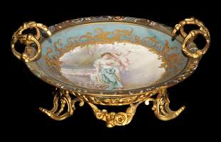 Signed Sevres Hand Painted Porcelain, Mounted