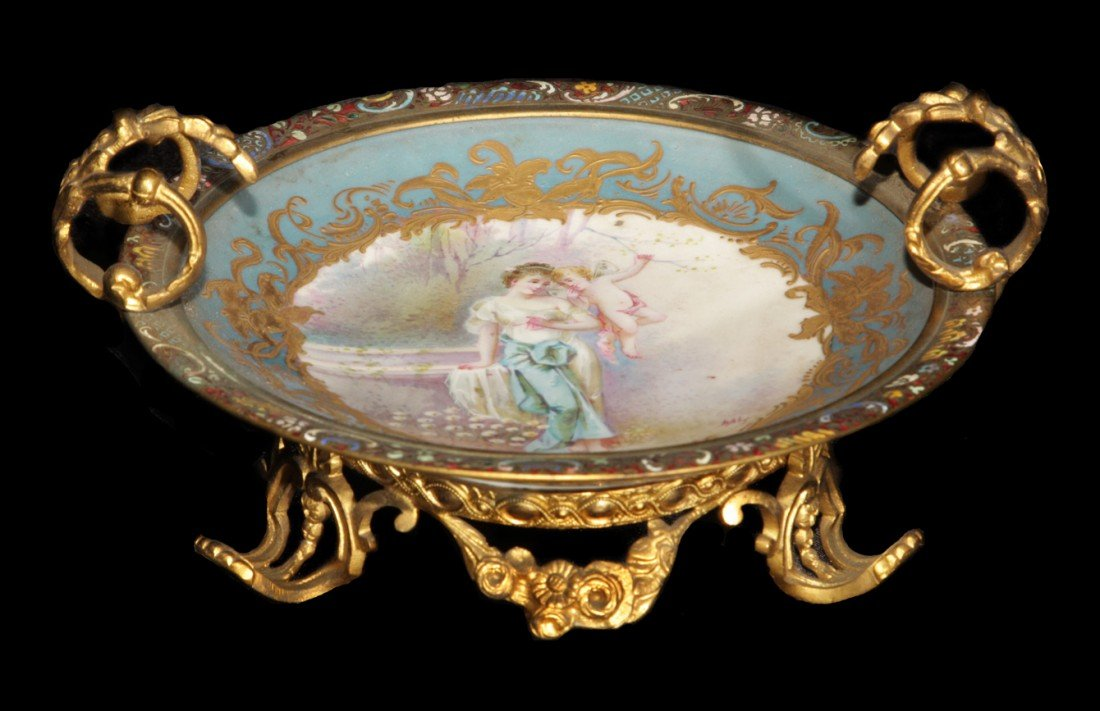 215: Signed Sevres Hand Painted Porcelain, Mounted