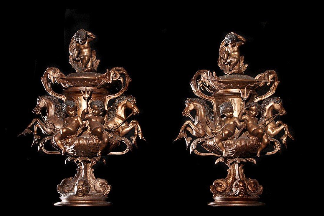 216: Pair - Patinated Metal Figural Lidded Urns Cherubs