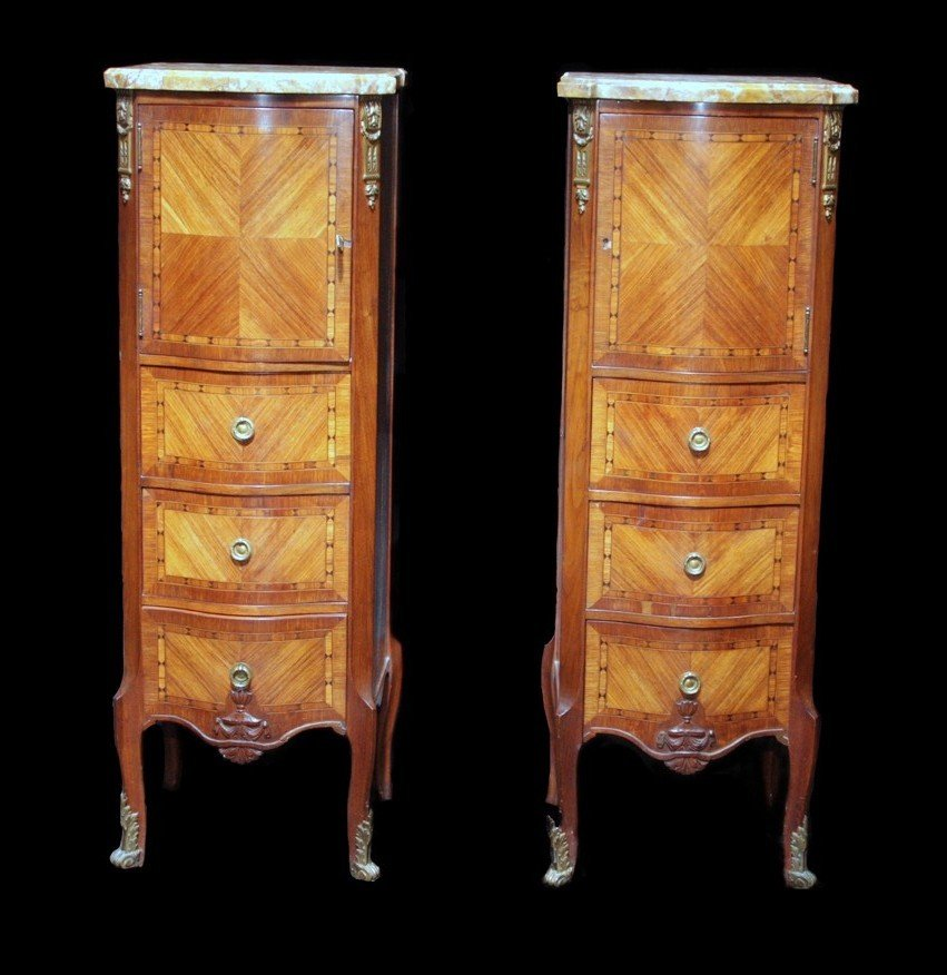 217: Pair of Louis XVI Marble/Walnut Lingerie Pedestals