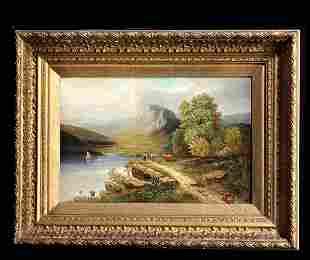 19th C Lake Landscape, Oil on Canvas, Gilt Framed