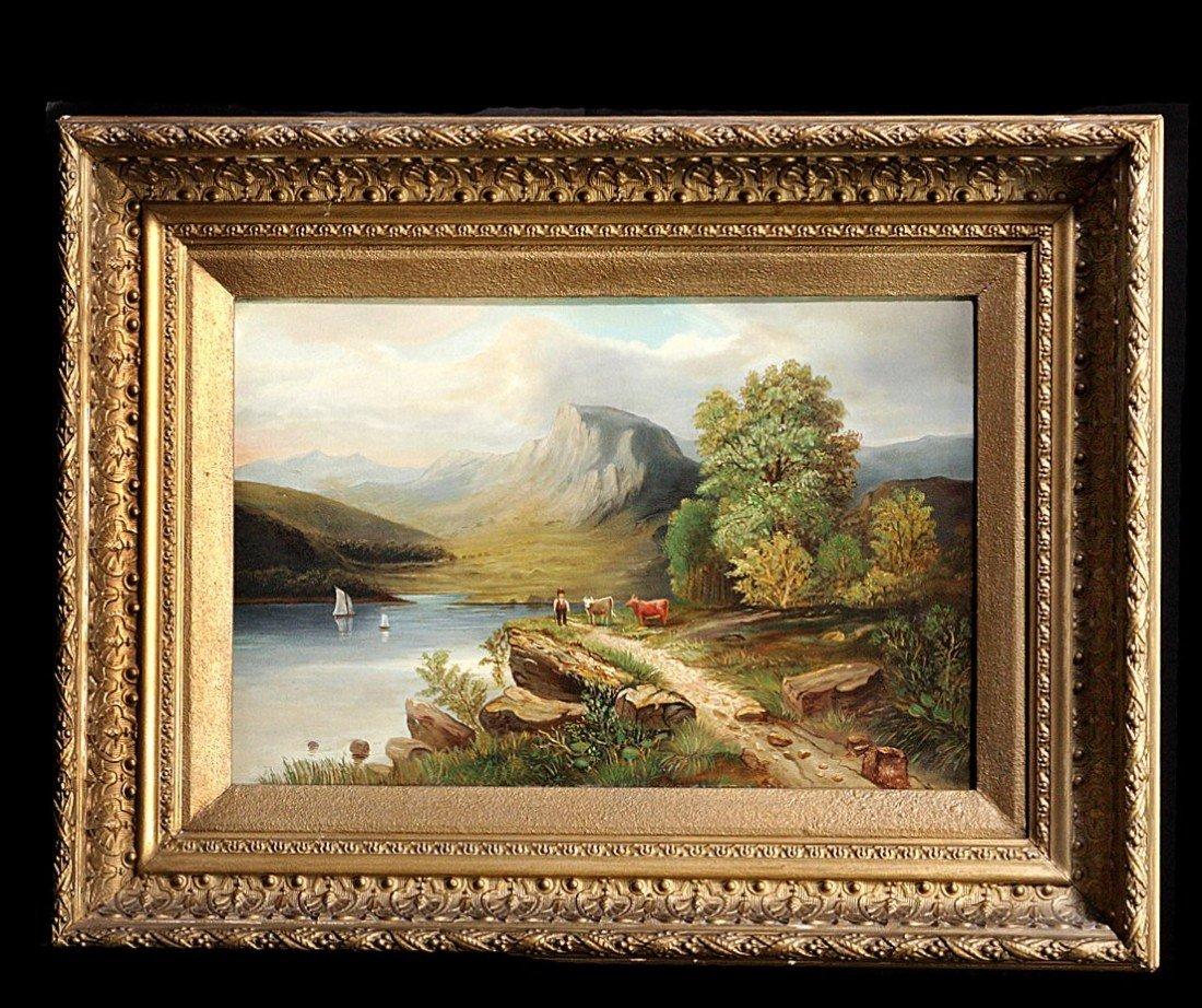 211: 19th C Lake Landscape, Oil on Canvas, Gilt Framed