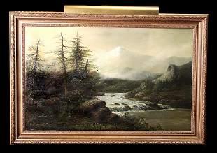 19th C River/Mountain Landscape, Gilt Framed