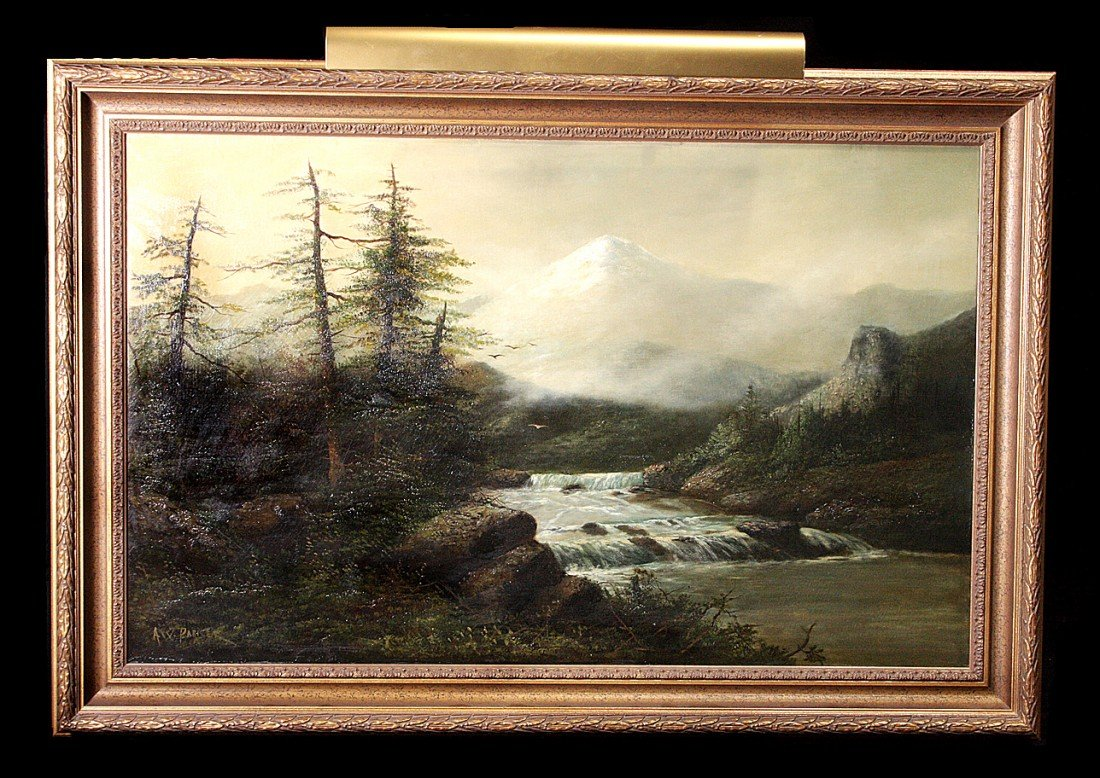 210: 19th C River/Mountain Landscape, Gilt Framed