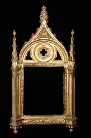 19th C Carved & Giltwood Gothic Wall Mirror