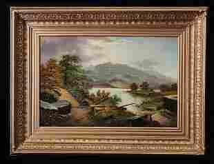 19th C Hudson River Landscape, Oil on Canvas