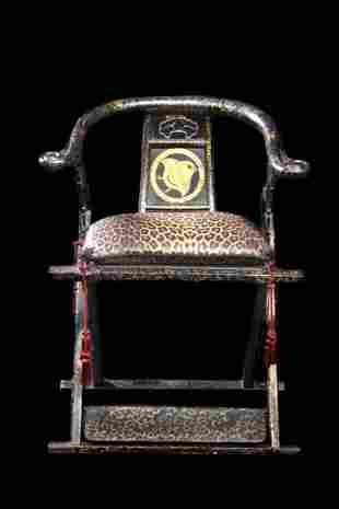 19th C Japanese Throne Chair, Hand Painted Lacquer