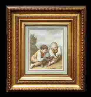 Early Gilt Framed, Fine 19th C Italian Watercolor