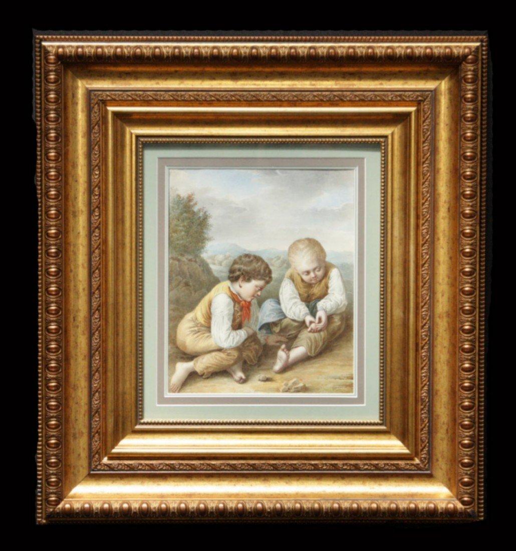 205: Early Gilt Framed, Fine 19th C Italian Watercolor