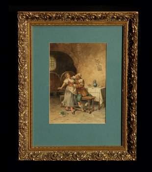 19th Century Italian Watercolor Interior Scene
