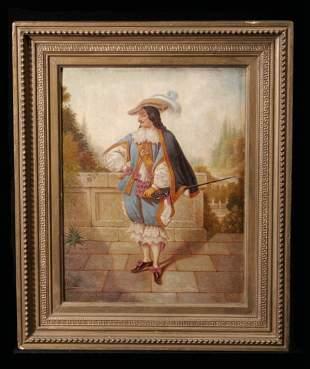 Pair 19th C Oil on Canvas Raised Texture Paintings