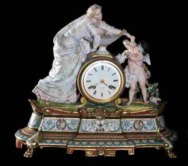 Fine 2-Part 19th C Chantilly Figural/Scenic Clock