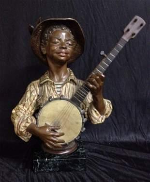 Rare 19th C Young Black Man & Banjo Marble Base