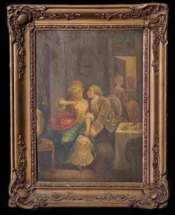 19th C French Oil on Panel Romantic Couple Scene
