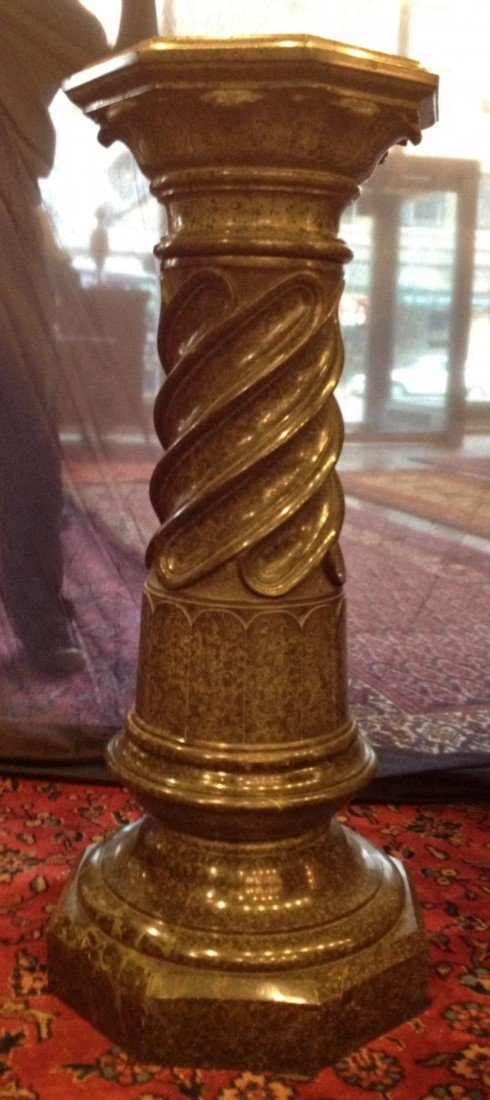 206: Large 19th Century Green Marble Pedestal.