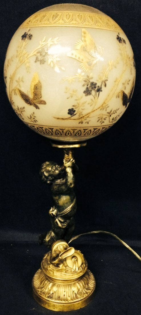 19th century bronze figural lamp with enameled glass